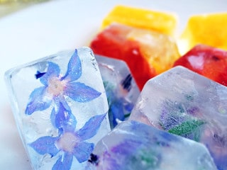 Hielos con flores, ralladuras de cítricos, jugo de frutas, hierbas de olor y así darle a nuestras bebidas un toque especial.