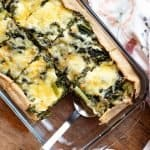 swiss chard quiche in a baking dish